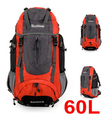 60L Nylon Double Shoulder Bag Camping Hiking Travel Backpack w Steel Frame Red
