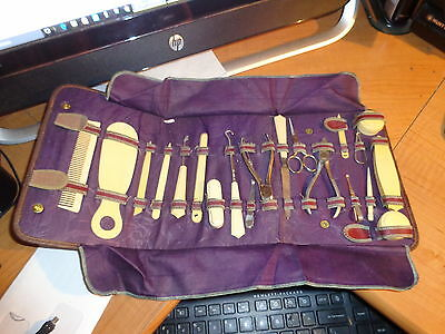 Vintage Men's Leather and Satin Grooming Set 1940's 50's Complete