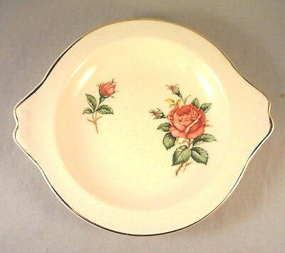 "RED ROSE by PADEN CITY RELISH DISH 8"" Rose & Buds on Cream"