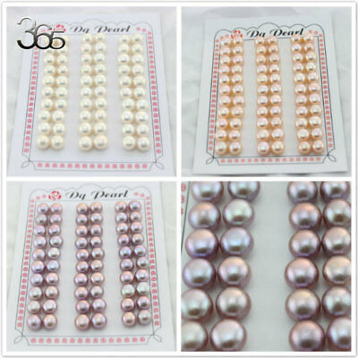 8-8.5mm Half Hole Button Coin Natural Freshwater Pearl Loose Beads 30 Pairs