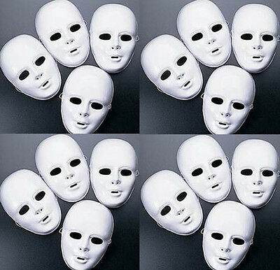 Lot of 24 + MASKS White Plastic Full Face Decorating Craft Halloween School