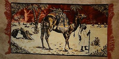 "CAMEL DESERT Middle Eastern scene Vintage Tapestry 22"" x 41"" tent & palm trees"