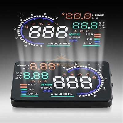 "5.5"" A8 Car Head Up Display HUD OBD II 2 Fuel Consumption Speed Warning System"