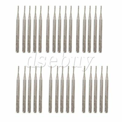 30pcs 1mm Cylinder Diamond Coated Tipped Rotary Burr Glass Drill Bit 3mm Shank