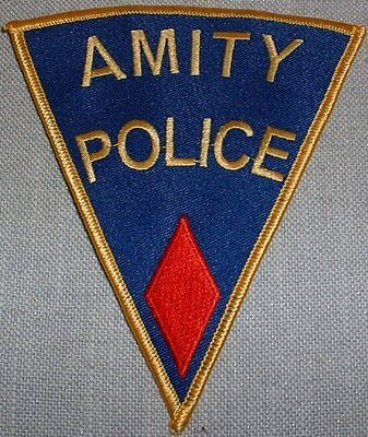 """JAWS Movie AMITY POLICE Shoulder Logo Red PATCH 5"""" TALL 1st Quality"""