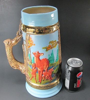 Deer Large Stein Mug Hunting Doe Buck Forest Hand Painted Ceramic