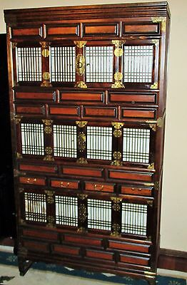 Chinese Wood Brass Apothecary Cabinet Tansu Chest Large Sliding doors Ornate HTF