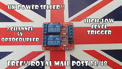 12V Two 2 Channel Relay Module With optocoupler PIC AVR DSP ARM Arduino UK New