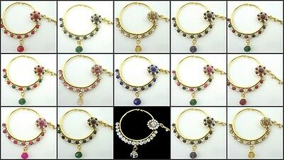 Choose Any Color Gold Tone Nose Ring Nath Bollywood Indian Bridal Ethnic Jewelry