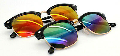 2 Packs Unisex 80S Classic Clubmaster Sunglasses With Reflected Lens