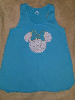 NWOT Disney World Parks Women's Blue Teal Lace Minnie Mouse Tank Top Medium