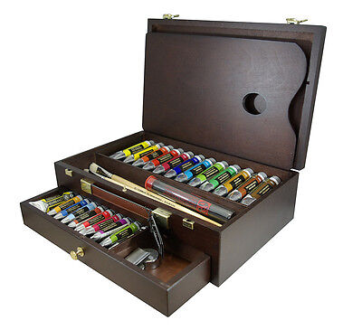 Rembrandt Fine Artists Quality Oil Colour Paint - Wooden Box Master Set