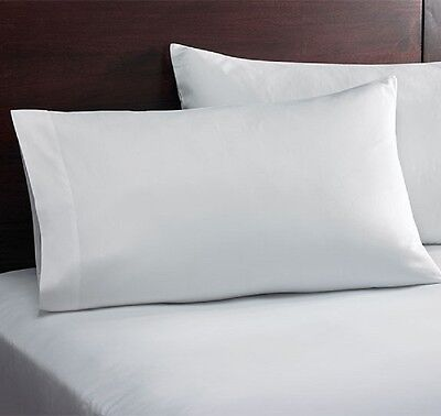 2 new hotel pillowcases bright white t-180 55//45 cotton//poly standard size