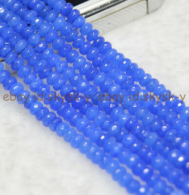 """New 2x4mm Faceted Blue Sapphire Abacus Loose Beads Gemstone 15/"""""""