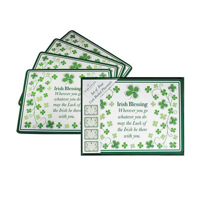 Four Leaf Clover Irish Blessing Set Of Four Placemats