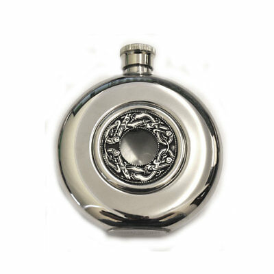 Mullingar Pewter Opened Faced Whiskey Face With Kells Design