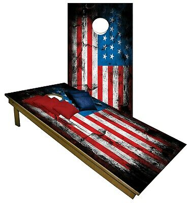 Vintage American Flag CORNHOLE BEANBAG TOSS GAME w Bags Rustic Game Boards  773