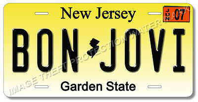"BON JOVI Rock Group Band New Jersey License Plate Tag 6""x12"" Car Truck Gift"