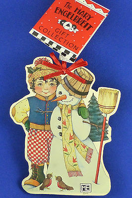 Mary Engelbreit Wood Christmas Ornament Boy with Snowman with Tags 5.5""