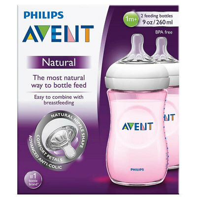 Philips Avent Natural Feeding Bottles Twin 2 Pack 260Ml Pink Baby Breastfeeding