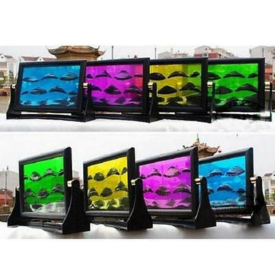 Color Moving Sand Glass Art Picture Photo Frame Home/Office Decor Desk gift F