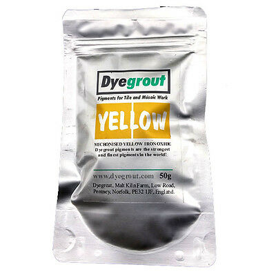 50 grams - Yellow Grout Pigment for Mosaics Cement Dye by Dyegrout