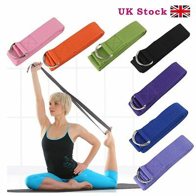 newD-Ring Cotton Yoga Stretch Strap Training Belt Waist Leg Fitness Exercise Gym