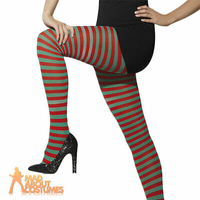 Elf Tights Striped Red and Green Christmas Fancy Dress Costume
