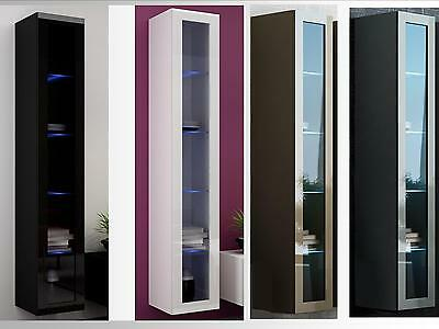 High Gloss Wall Mounted Cabinet with LED Lights | Floating Cupboard | Wall Unit