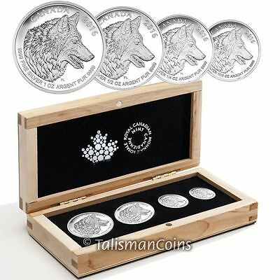 Canada 2016 Lone Wolf 4 Coin Fractional Pure Silver Proof Set in Maple Wood Box