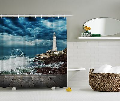 Nautical Lighthouse on Rocky Ocean Beach Coast Fabric Shower Curtain