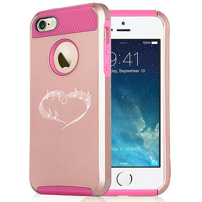 For iPhone X 5s 6 6s 7 8 Plus Rose Gold Shockproof Case Heart Love Music Notes