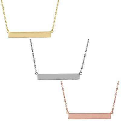 Sterling Silver Necklace with Engravable Sideways Bar Pendant