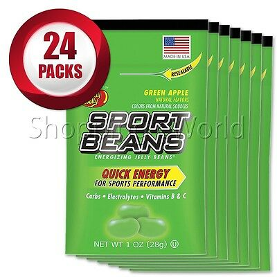 GREEN APPLE Energizing SPORT BEANS ~ Jelly Belly ~ 24 Packs ~ Guaranteed Fresh