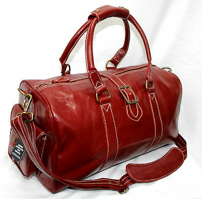 Cherry Red Holdall Vintage  Premium  Leather Travel, Sports,gym, Weekend Bag