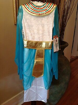 Cleopatra Costume Girls Medium 7-8 White NWT Headpiece Scepter Ages 7+