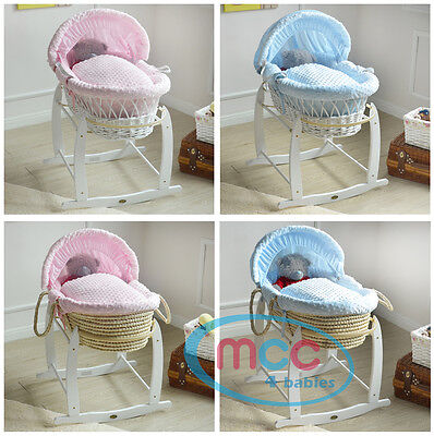 Full Set Deluxe Wicker Palm Moses Basket With Cotton Dressing & Rocking Stand
