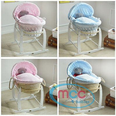 MCC®  Full Set Deluxe Wicker Palm Moses Basket & Cotton Dressing & Rocking Stand