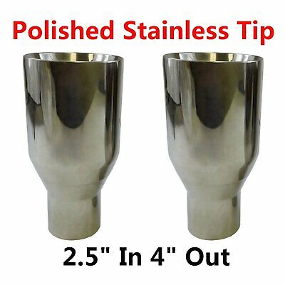 "2X Sliver Exhaust Duo layer Straight Tip Polished Stainless Steel 2.5""In 4""Out"