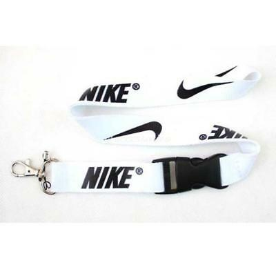 Nike Lanyard Strap Badge ID Running Cell Holder Detachable Keychain Camera White