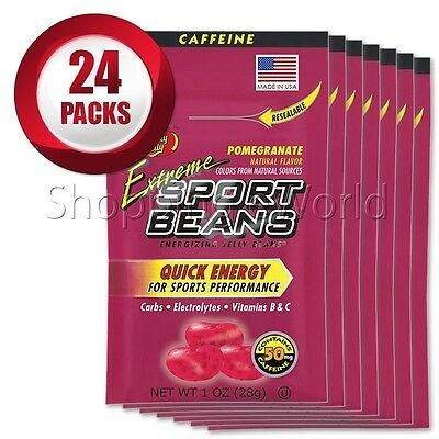 EXTREME POMEGRANATE Energizing SPORT BEANS ~ Jelly Belly ~ 24 Packs ~ Fresh