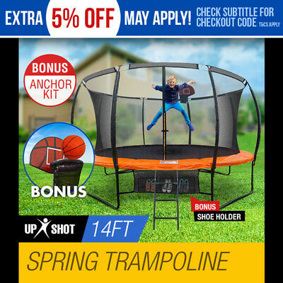 NEW 14ft Round Trampoline FREE Basketball Set+Safety Net+Spring Pad Cover+Ladder
