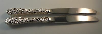 """2 Knives.  Stieff Sterling Silver Rose Repousse.  8-3/4""""  No monogram"""