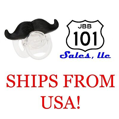 Black Hair Funny Mustache BPA Free Pacifiers for Baby Boys, Girls & Toddlers