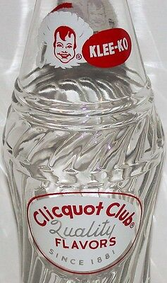 Vintage soda pop bottle CLICQUOT CLUB twist design 1962 eskimo pictured n-mint+
