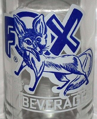 Vintage soda pop bottle FOX BEVERAGES 8oz fox picture 1966 Fremont Ohio n-mint+