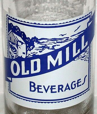 Vintage soda pop bottle OLD MILL picturing a mill scene Brookville Indiana nrmt