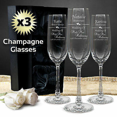 3x Personalised Champagne Glass 215ml Engraved Gift Box Wedding Bridesmaid Flute
