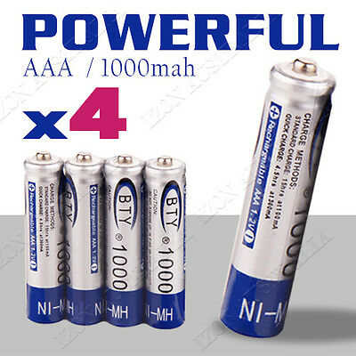 4x 1.2V 1000mAH AAA NI-MH Recharge Rechargeable Battery