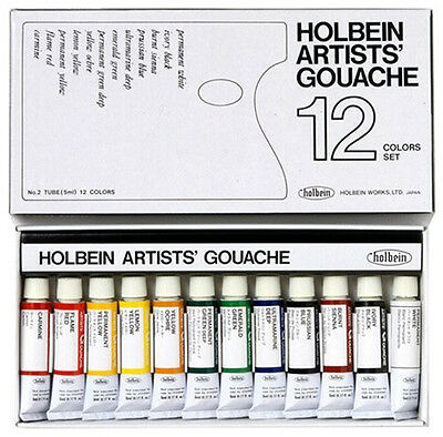 Holbein Japan Artists' Gouache Opaque Water Color 12 Colors Set Tube (5ml) G701